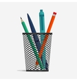 Pen and pencil in holder basket vector image