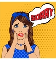 Stressed beautiful girl in retro style vector image
