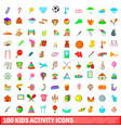100 kids activity icons set cartoon style vector image vector image