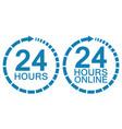 24 twenty four hour clock online service logo vector image