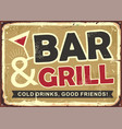 bar and grill retro tin sign design vector image vector image