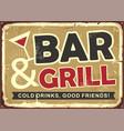 bar and grill retro tin sign design