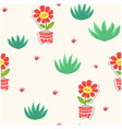 botanicals pattern aloe vera flower background vec vector image vector image
