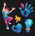 boy and symbols with puzzle concept autism vector image
