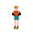 boy holding red heart happy valentine day vector image vector image