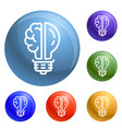 brain bulb icons set vector image