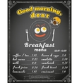 Breakfast menu on the chalkboard vector image vector image