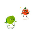cabbage orange sport characters set vector image vector image