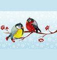 cartoon bullfinch and bird tit on branch rowan vector image vector image
