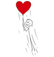 cartoon man in love holding rope big red vector image vector image