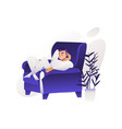 cartoon young man sitting at armchair vector image vector image