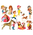 Children With Pets Set vector image vector image