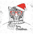 christmas hipster fashion animal tiger vector image