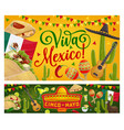 cinco de mayo mexican party guitar sombrero flag vector image vector image