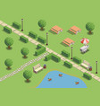 city park isometric composition vector image