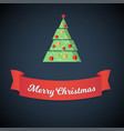 congratulation red ribbon banner and christmas vector image
