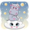 cute hippo a on the cloud vector image