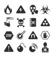 danger black icon set beware and warning vector image vector image