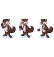 Dark Brown Polecat Mascot with phone vector image vector image