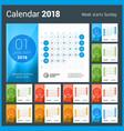 desk calendar for 2018 year design print template vector image