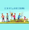 eco volunteering cartoon composition vector image