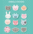 face animal sticker for printing vector image