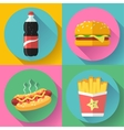 fast food flat design icon set hamburger cola vector image vector image