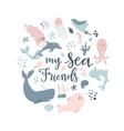 handdrawn conceptual sea animals vector image vector image