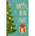 Happy new year greeting card Christmas tree and vector image