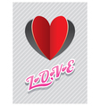 Heart Shape Paper Cut Background and LOVE Text vector image