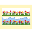 Horizontal banner with paper tulips vector image