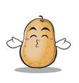 kissing closed eyes potato character cartoon style vector image vector image