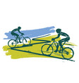 mountain bikers cycling race vector image vector image