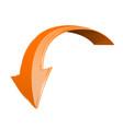 orange down arrow shiny 3d sign vector image