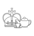 queen crown and tea cup in black and white vector image vector image