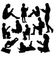 Reading Book Silhouettes vector image vector image