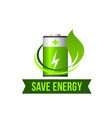 save green energy leaf battery icon vector image vector image