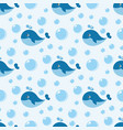 seamless pattern with cute blue whale vector image vector image