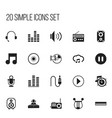 set of 20 editable music icons includes symbols vector image