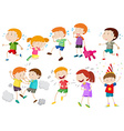 Set of children crying and fighting vector image vector image