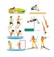 set of sport competitions icons in flat vector image vector image