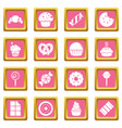 sweets candy cakes icons set pink square vector image vector image