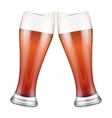Two red beer glasses clink vector image vector image