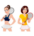 two tennis player vector image vector image