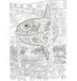 underwater moon fish in zentangle vector image vector image