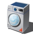 Washing machine with glossy red sticker vector image