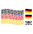 waving germany flag collage of skull crossbones vector image