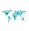 world map silhouette with flying planes and tracks vector image vector image