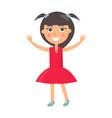 brunette girl greets happy childrens day vector image