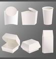 set of blank takeaway food box mockup design vector image